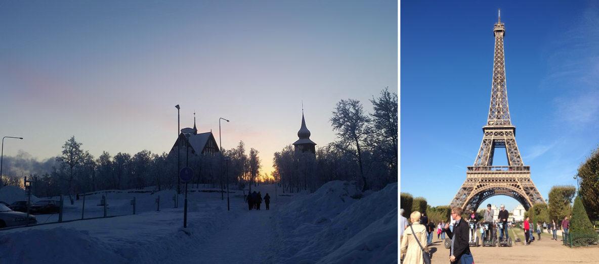 Kirunas kyrka och Eiffeltornet.